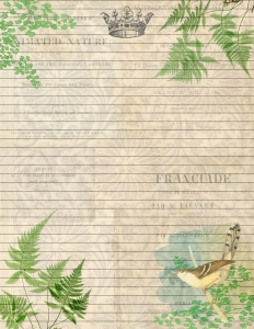 Bird Botanical Journal Lined Paper with ferns and yellow bird