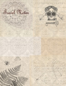 Voyage paper Steampunk w lady Travel Notes