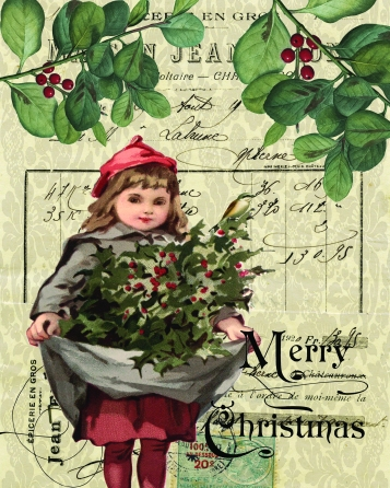 Vintage Girl with Berries for Christmas 8 x 10 JPEG