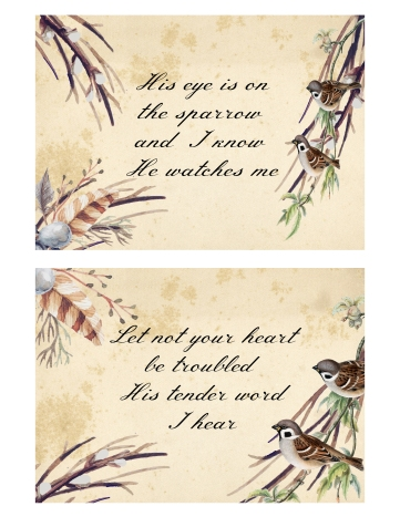 His eye is on the Sparrow Set of 4 Hymn Cards 1 and 2 5 x 7