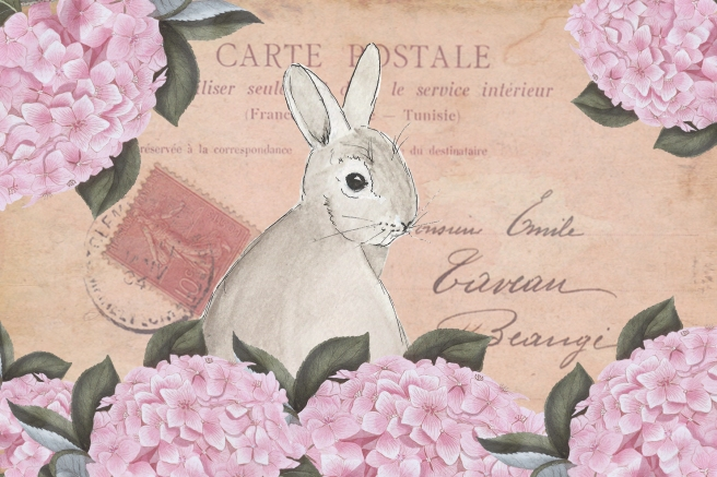4 x 6 Watercolor Rabbit Post with pink hydrangea