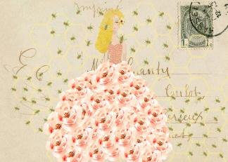Beehive Lady Postcard