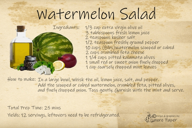 Watermelon Salad Recipe card 4 x 6