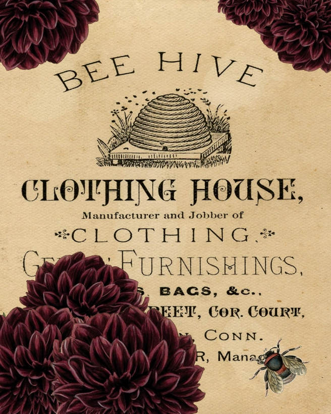 Bee Hive Clothing House Bee and Dahlia Paper 8x10 jpeg