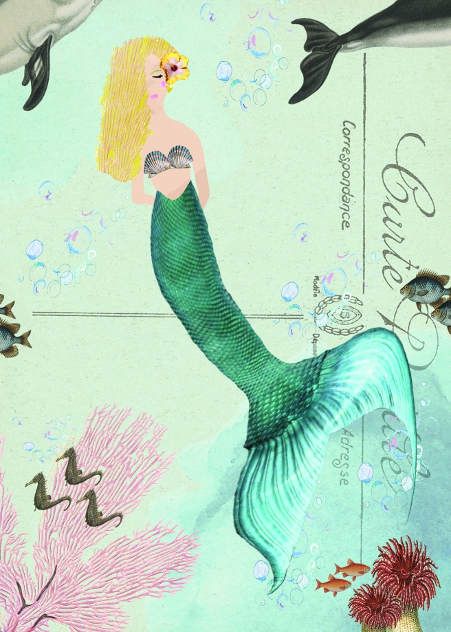 Mermaid with darrens flower on Postcard 5 x 7 JPEG