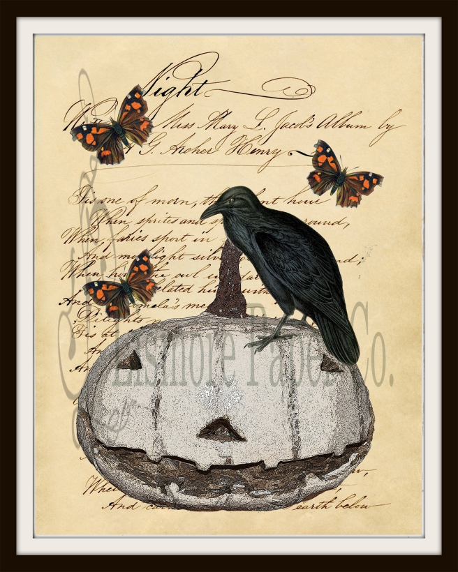 Halloween Paper White pumpkin Crow Butterfly 8 x 10 Frame